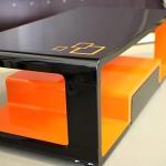Couchtisch Folierung schwarz-orange